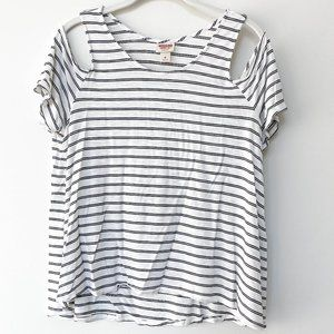 Mossimo Supply Co. Cold Shoulder Striped Swing Tee